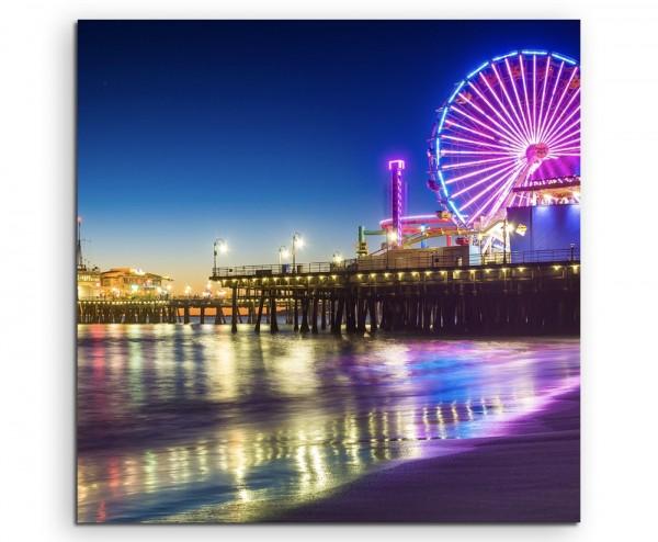 Landschaftsfotografie – Pier bei Nacht, Santa Monica, Kalifornien, USA auf Leinwand