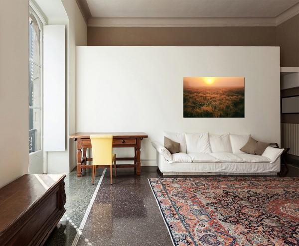 120x80cm Feld Sonnenuntergang Landschaft