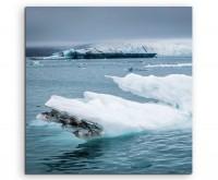 Landschaftsfotografie – Treibende Eisschollen, Island auf Leinwand