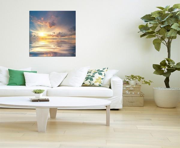 80x80cm Sonnenuntergang Meer Spiegelung Wolken