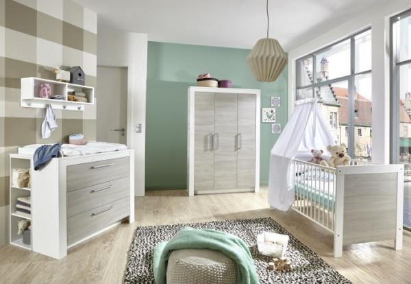 Babyzimmer Toni in Weiß und Ulme Silber- Grau von Arthur Berndt 6 teiliges Superset mit Schrank, Bet
