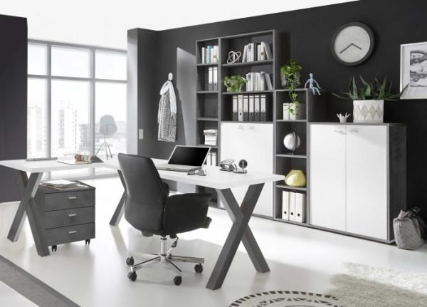 Büromöbel Mister Office in Graphit und Weiß 6 teiliges Megaset mit Eckschreibtisch und Rollcontainer
