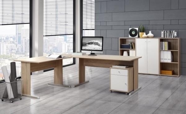 Büromöbel Tempra in Eiche Sonoma- Weiß 5teiliges Superset mit Winkelschreibtisch, Rollcontainer, Sid