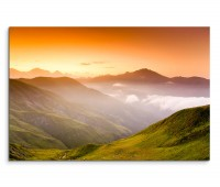 120x80cm Wandbild Georgien Kaukasus Gebirge Abendrot