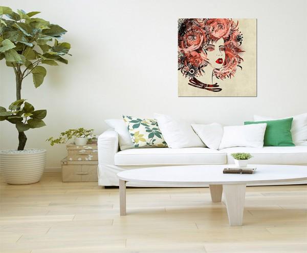 80x80cm Malerei Frau Gesicht Blumen abstrakt