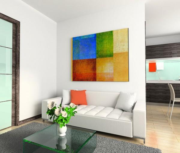 120x80cm Wandbild Hintergrund grunge blau rot grün gelb