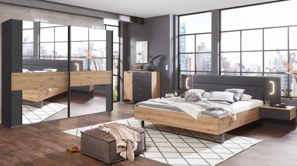 Schlafzimmer Shanghai in Artisan Eiche und Graphit 3 teilig mit Schwebetürenschrank, 180er Futonbett
