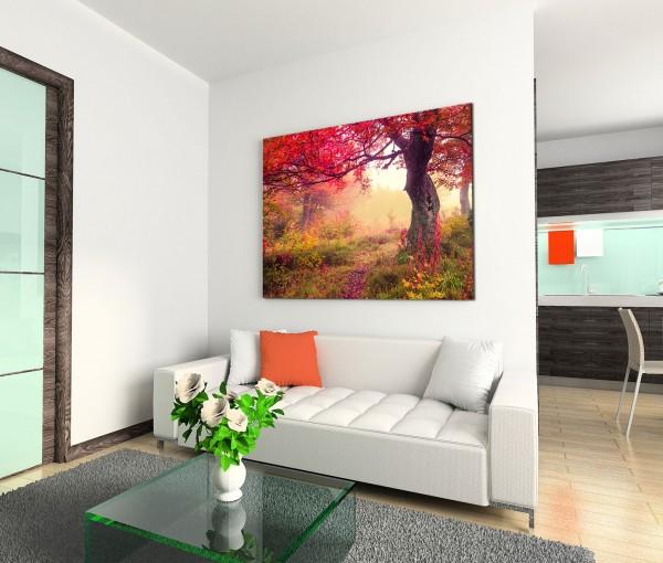 120x80cm Wandbild Ukraine Wald Wiese Bäume Sommer