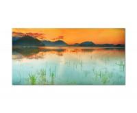 120x80cm See Berge Sonnenuntergang Natur