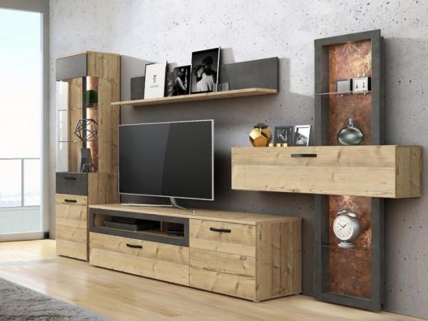 Wohnwand Kalomira 4teilig inklusive Beleuchtung mit Vitrine, TV- Schrank, Wandpanell und Wandboard;
