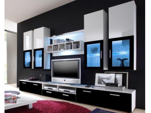 Wohnwand Lyra Black inklusive LED mit vier Hängevitrinen, drei TV- Unterschränken und einem Wandpane