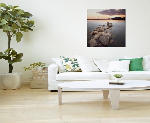 80x80cm Krim See Wasser Steine Morgenrot