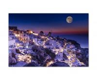 120x80cm Griechenland Ort Häuser Vollmond Meer