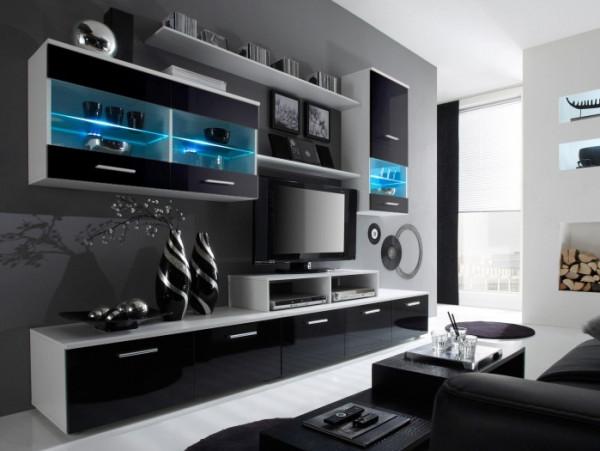 wohnwand logo schwarz m bel. Black Bedroom Furniture Sets. Home Design Ideas