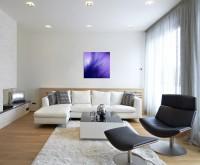 Naturfotografie – Lila Federn auf Leinwand exklusives Wandbild moderne Fotografie für ihre Wand in v