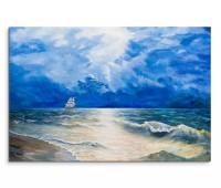120x80cm Wandbild Ölgemälde Meer Segelboot Wolken