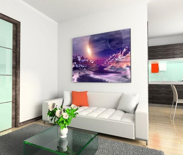 120x80cm Wandbild Computerkunstwerk Alien Planet