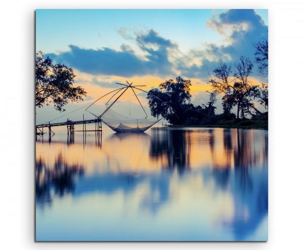 Landschaftsfotografie – Fischernetz bei Sonnenaufgang auf Leinwand exklusives Wandbild moderne Fotog