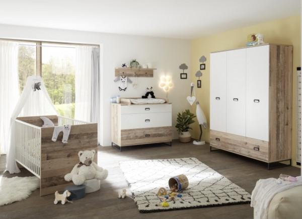 Babyzimmer Ronny in Old Style hell- Weiß 6 teiliges Megaset mit Schrank, Bett mit Lattenrost und Umb