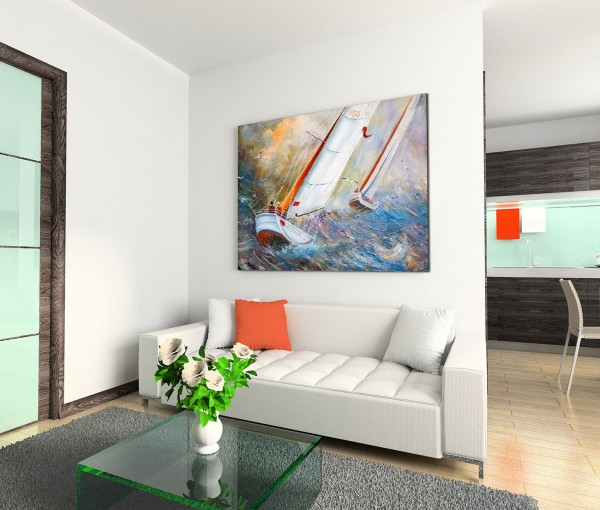 120x80cm Wandbild Segelboote Meer Wellen Wolken