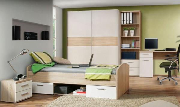Jugendzimmer Winnie in Eiche Sonoma und Weiß 5 teiliges Superset mit Kleiderschrank, Bett und Nachtt