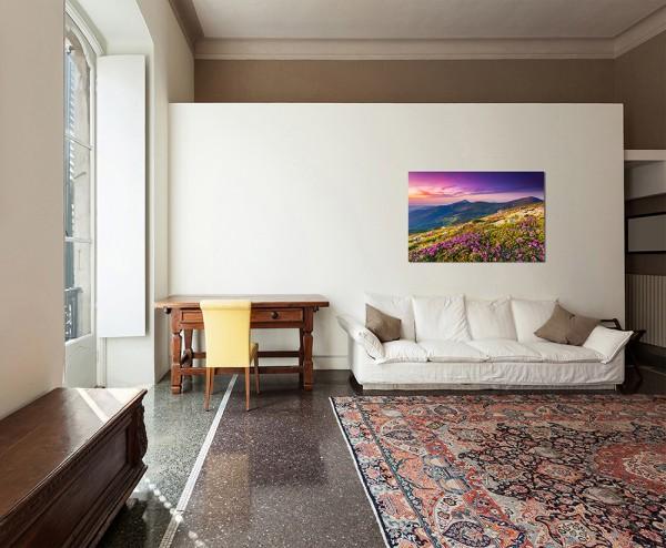 120x80cm Wiese Blumen Sommer Berge Landschaft