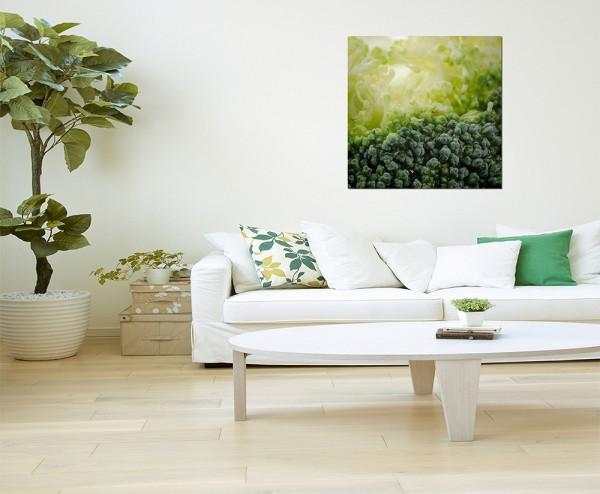 80x80cm Gemüse Brokkoli grün Nahaufnahme