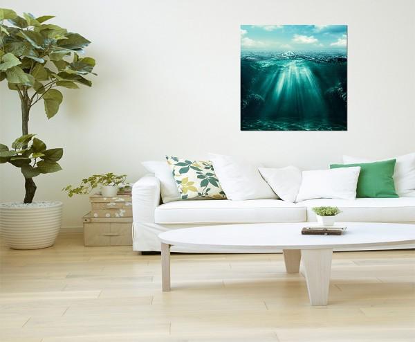 80x80cm Meer Wasser Unterwasser Sonnenstrahlen