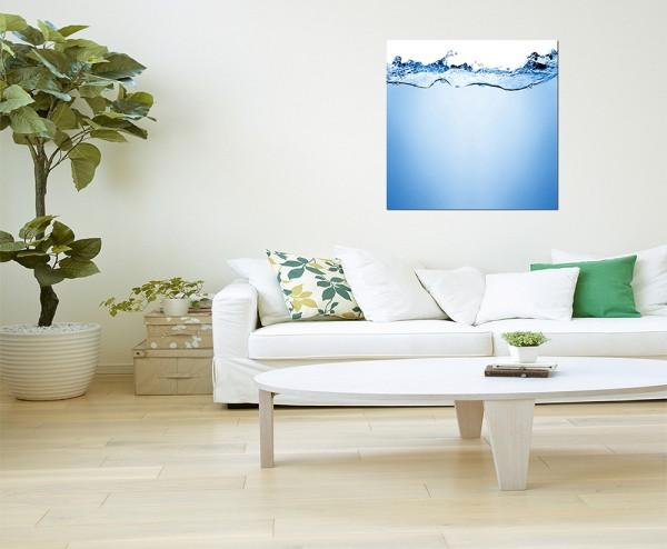 80x80cm Wasser Welle Tropfen Unterwasser blau