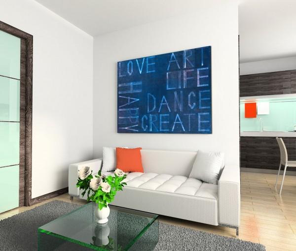 120x80cm Wandbild Hintergrund Schrift Worte blau