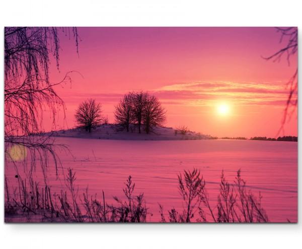 Pinker Sonnenuntergang über schneebedeckten Feldern - Leinwandbild