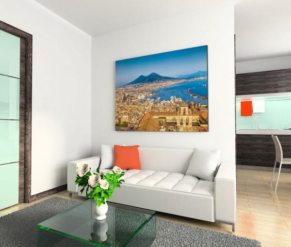 120x80cm Wandbild Neapel Meer Vulkan Vesuv Häuser Sommer