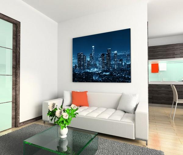 120x80cm Wandbild Los Angeles Skyline Nacht Lichter