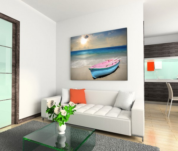 120x80cm Wandbild Strand Meer Holzboot Sonnenuntergang