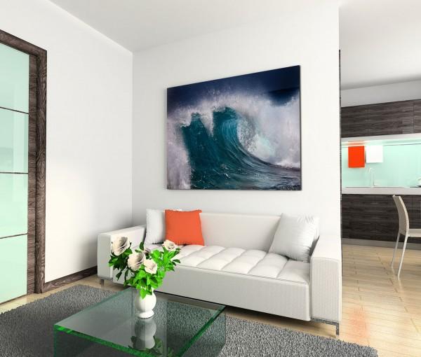 120x80cm Wandbild Ozean Riesenwelle Gischt