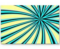 Abstraktes Bild – blau-schwarze Streifen + hellgelber Hintergrund - Leinwandbild