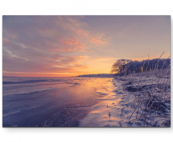 See im Winter, Sonnenaufgang - Leinwandbild