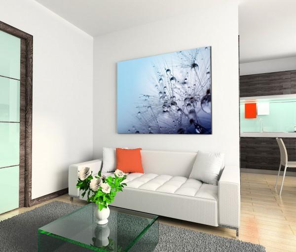 120x80cm Wandbild Wassertropfen Pusteblume Nahaufnahme