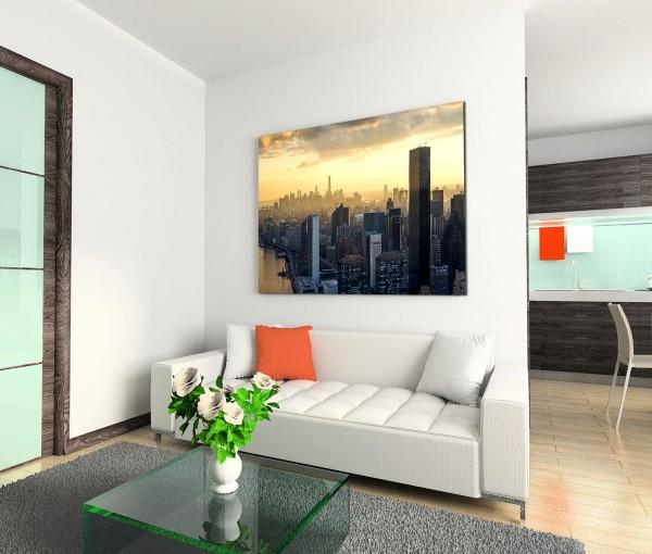 120x80cm Wandbild New York Skyline Wolken Sonnenuntergang