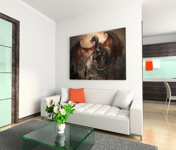 120x80cm Wandbild Ritter Drachen Kampf Dunkelheit Fantasy