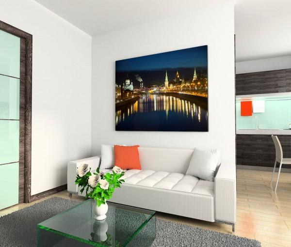 120x80cm Wandbild Moskau Fluss Gebäude Lichter Nacht