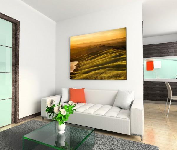 120x80cm Wandbild Toskana Berge Sonnenuntergang