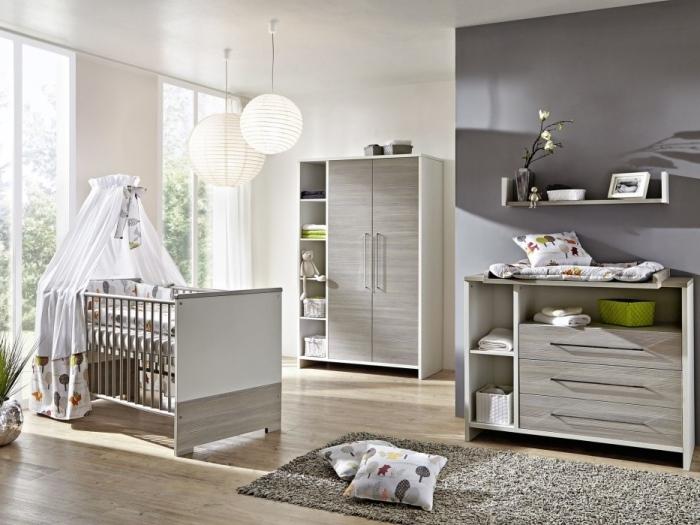Babyzimmer Eco Silber in Weiß und Pinie Silber 6 teiliges Megaset von SCHARDT