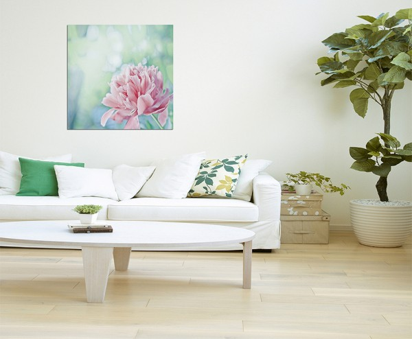 80x80cm Pfingstrose Blüte Blume rosa