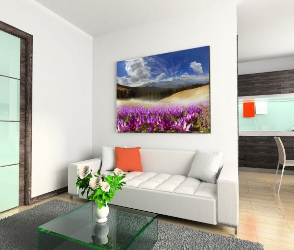 120x80cm Wandbild Berge Wiesen Blumen Wolken Landschaft