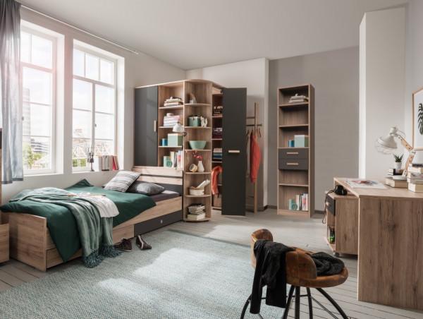 Jugendzimmer Cariba in Eiche San Remo und Graphit 6 teilig
