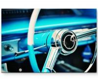 blaues Lenkrad – Oldtimer - Leinwandbild