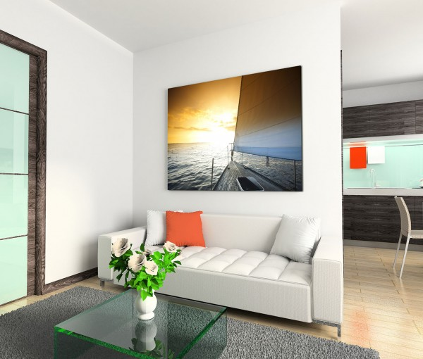 120x80cm Wandbild Meer Segelboot Sonnenlicht