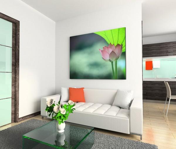 120x80cm Wandbild Lotus Blüte Blatt
