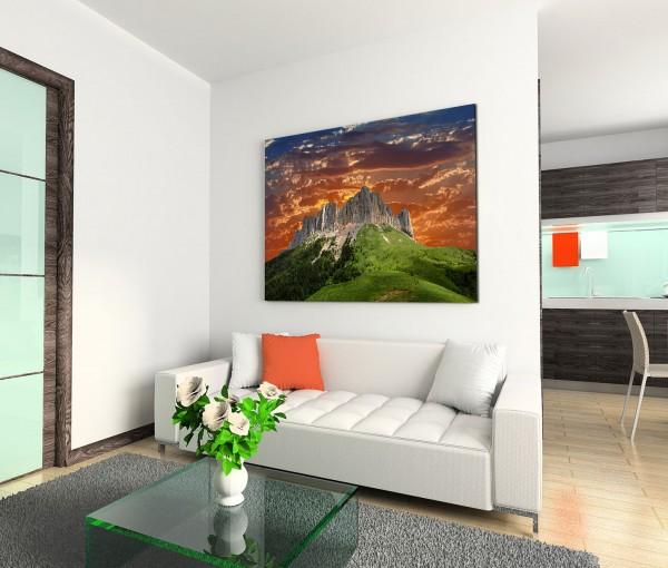 120x80cm Wandbild Kaukasus Gebirge Wiesen Abendrot
